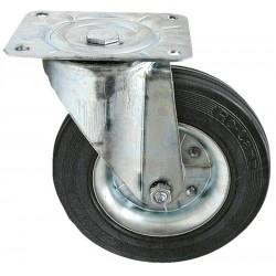 01 Zwenkwiel plaatstaal velg rubberwiel 80 mm