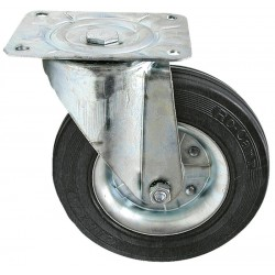 02 Zwenkwiel plaatstaal velg rubberwiel 100 mm