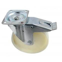 02 Polyamide zwenkwiel met rollager en rem 125 mm