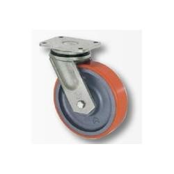 02 Polyurethaan zwenkwiel met kogellager 125 mm