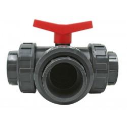 06 PVC 3 weg kogelkranen T-boring 63 mm