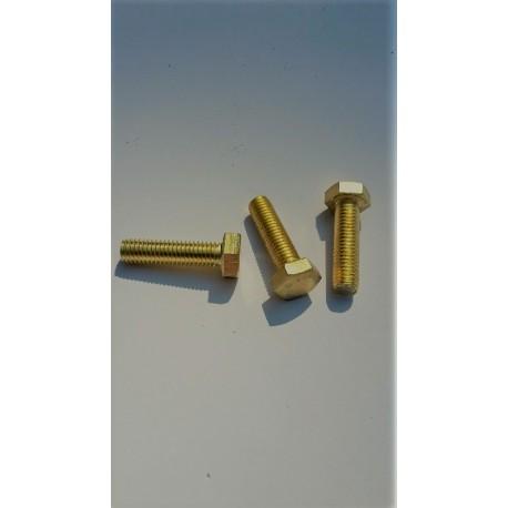02 Bouten  M10 x 20 mm voldraad Messing