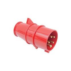 02 CEE stekker 4 polig plus randaarde 16 amp 380 volt rood
