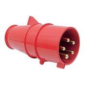03 CEE stekker 4 polig plus randaarde 32 amp 380 volt rood