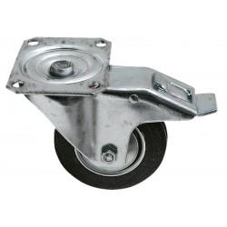 03 zwenkwiel met rem stalenvelg rubberwiel 160 mm