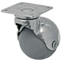 01 Zwenkwiel grijsrubber wiel met glijlager 30 mm