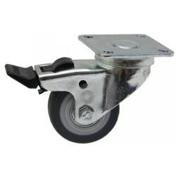 02 Zwenkwiel met kogellager in wiel en rem 75 mm